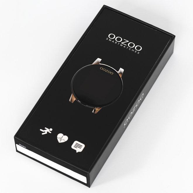 OOZOO Smartwatches - unisexe - bracelet en caoutchouc noir avec argent