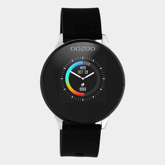 OOZOO Smartwatch - unisex - rubber black with silver metal watch case