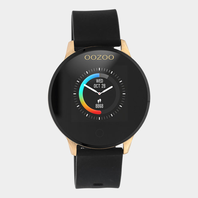 OOZOO Smartwatches - unisex - rubber strap black with rose gold