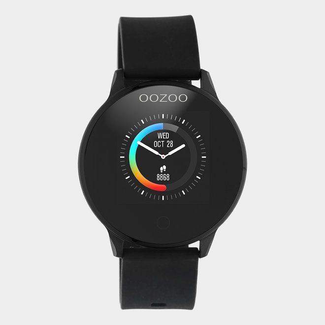 OOZOO Smartwatch - unisex - rubber black with black metal watch case