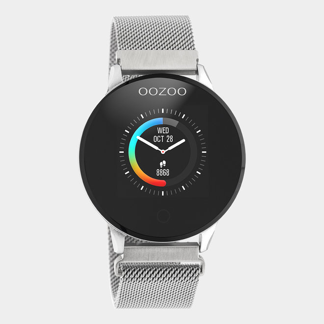 OOZOO Smartwatches - unisex - metal mesh strap silver with silver