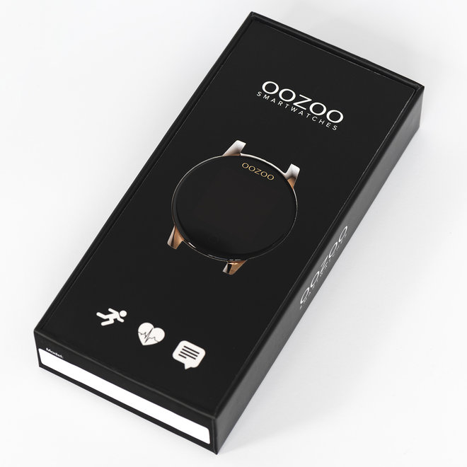 OOZOO Smartwatches - unisex - metal mesh strap black with rose gold