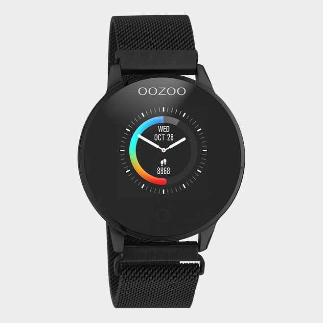 OOZOO Smartwatches - unisex - metalen mesh band zwarte / zwart