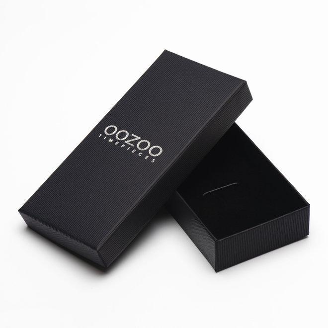 OOZOO Timepieces - heren - leren band bruin met zilver gekleurde horlogekast