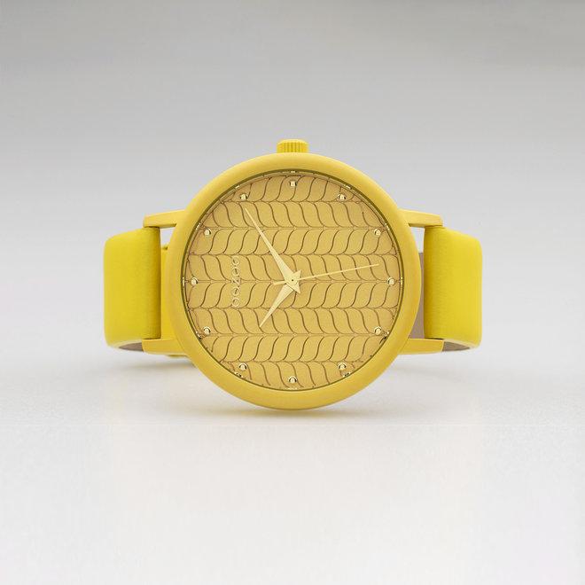 OOZOO Timepieces - dames - leren band mosterd met mosterd gekleurde horlogekast