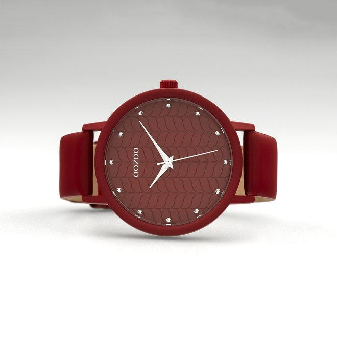 OOZOO Timepieces - dames - leren band samba rood met samba rood gekleurde horlogekast