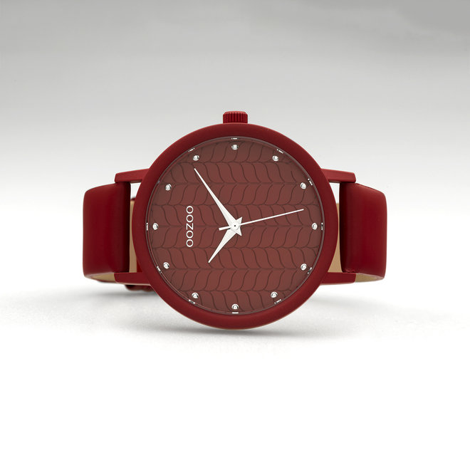 OOZOO Timepieces - ladies - samba red leather strap with samba red watch case