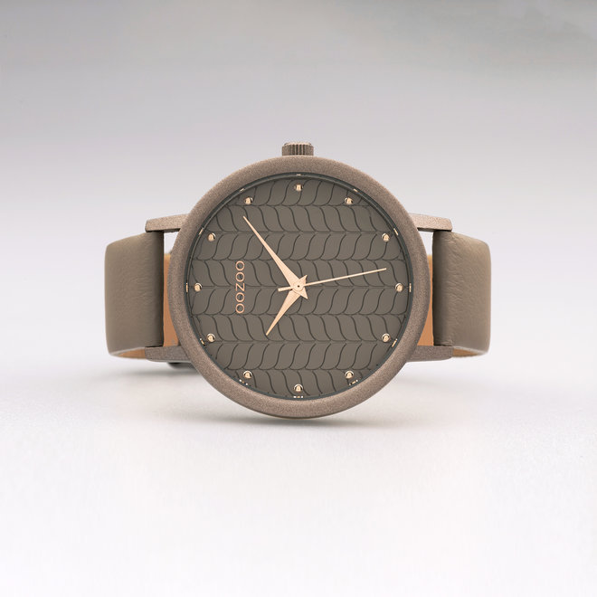 OOZOO Timepieces - ladies - taupe leather strap with taupe watch case