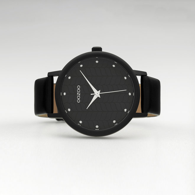 OOZOO Timepieces - ladies - black leather strap with black watch case