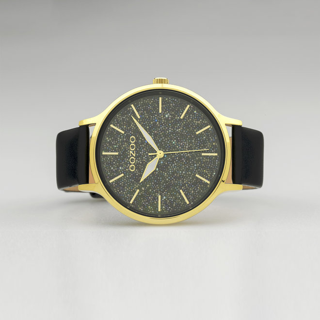 OOZOO Timepieces - dames - leren band zwart met goud gekleurde horlogekast