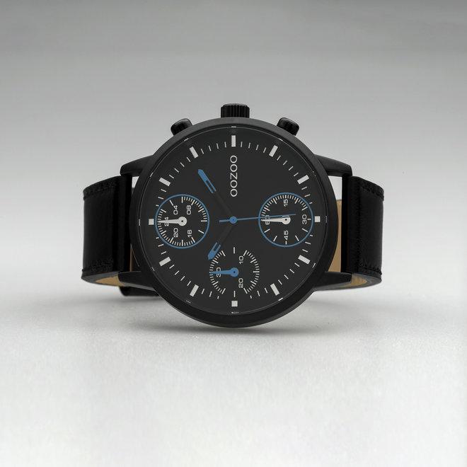 OOZOO Timepieces - heren - leren band zwart met zwart gekleurde horlogekast