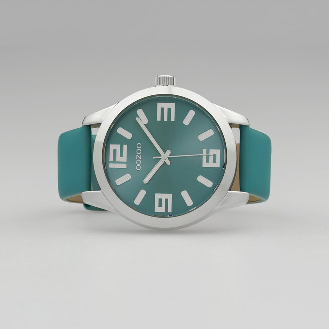 OOZOO Timepieces - unisexe - bracelet en cuir viridian vert avec un boîtier en argent