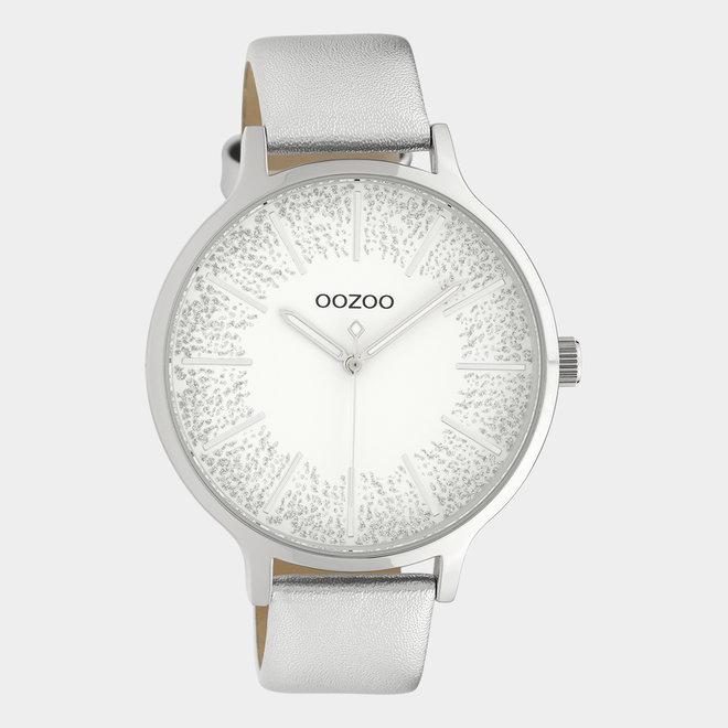 OOZOO Timepieces - dames - leren band zilver