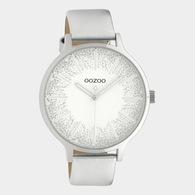 OOZOO Timepieces - ladies - leather strap silver
