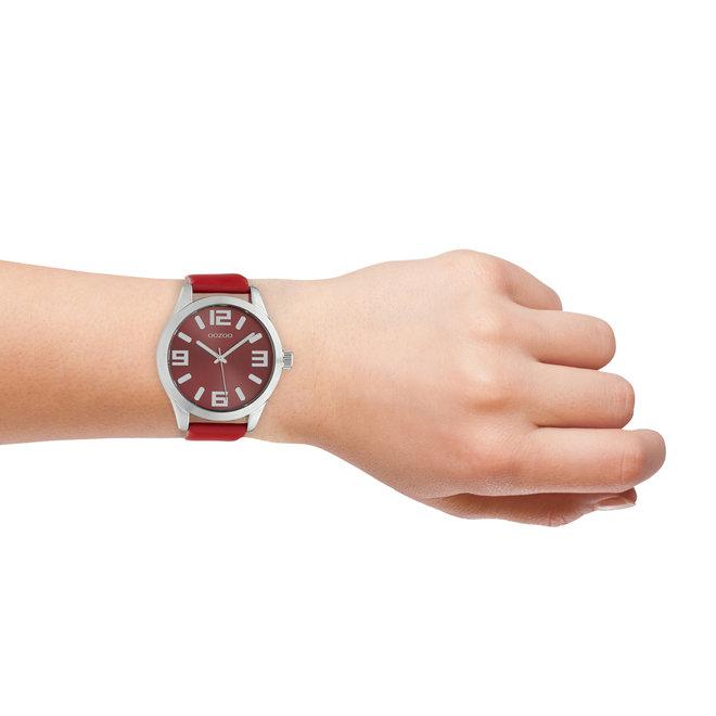 OOZOO Timepieces - unisex - leren band rood met zilver gekleurde horlogekast