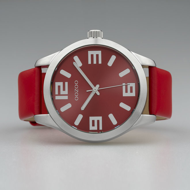 OOZOO Timepieces - unisex - red leather strap with silver watch case