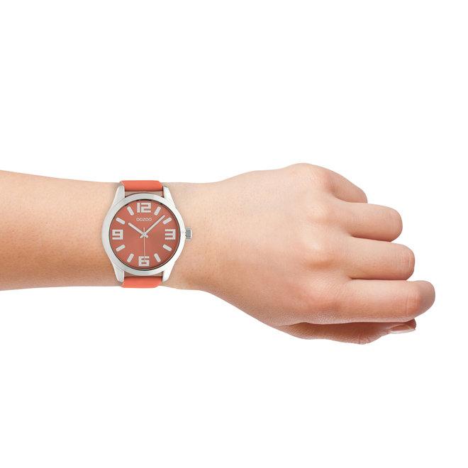 OOZOO Timepieces - unisex - leren band woestijn bloem met zilver gekleurde horlogekast