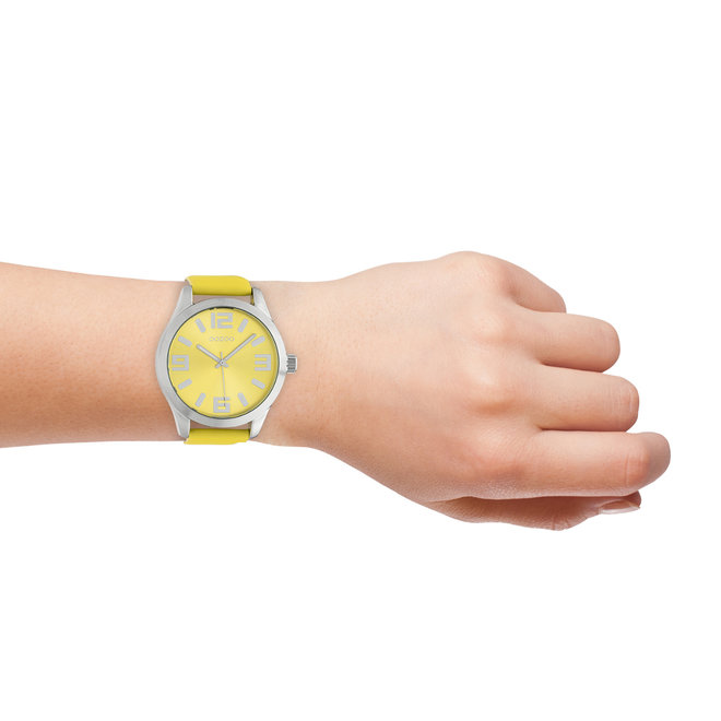 OOZOO Timepieces - unisexe - bracelet en cuir jaune avec un boîtier en argent