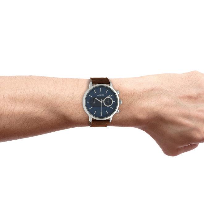 OOZOO Timepieces - unisexe - bracelet en cuir marron avec un boîtier en argent