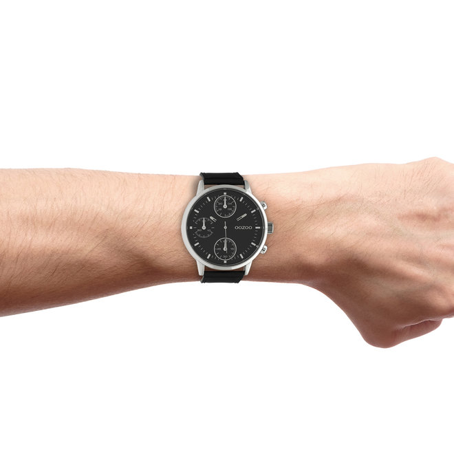 OOZOO Timepieces - gents - black leather strap with silver watch case
