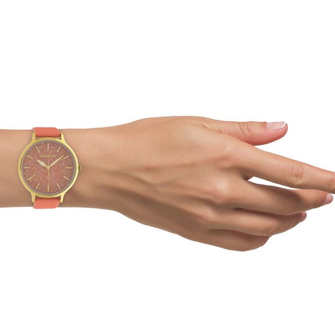 OOZOO Timepieces - dames - leren band woestijn bloem met goud gekleurde horlogekast