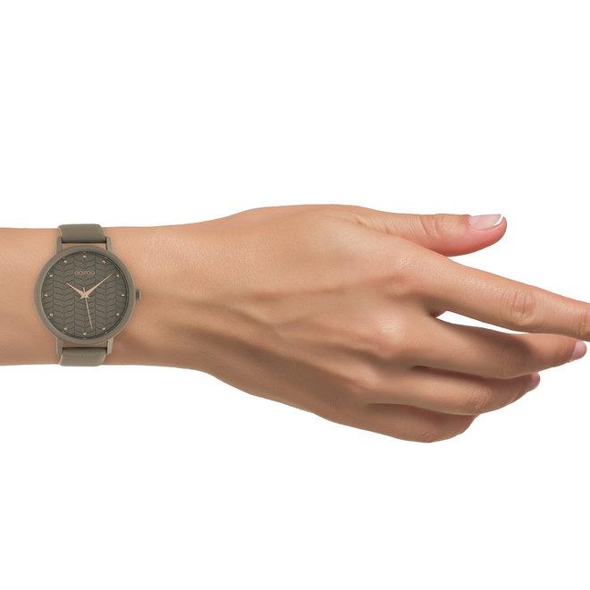 OOZOO Timepieces - dames - leren band taupe met taupe gekleurde horlogekast