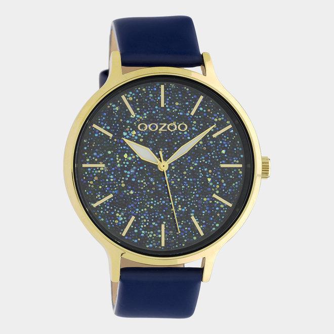 OOZOO Timepieces - femmes - bracelet en cuir bleu foncé avec un boîtier en or