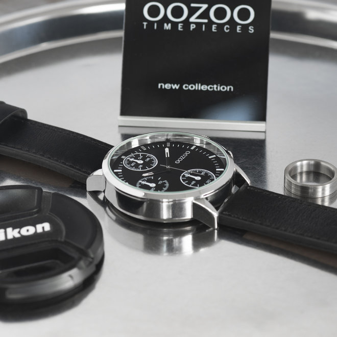 OOZOO Timepieces - heren - leren band zwart met zilver gekleurde horlogekast
