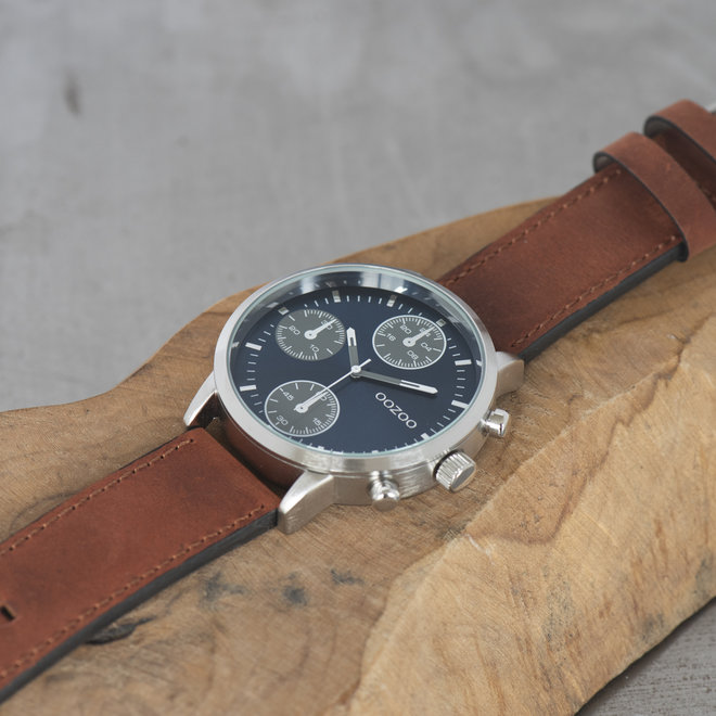 OOZOO Timepieces - gents - brown leather strap with silver watch case