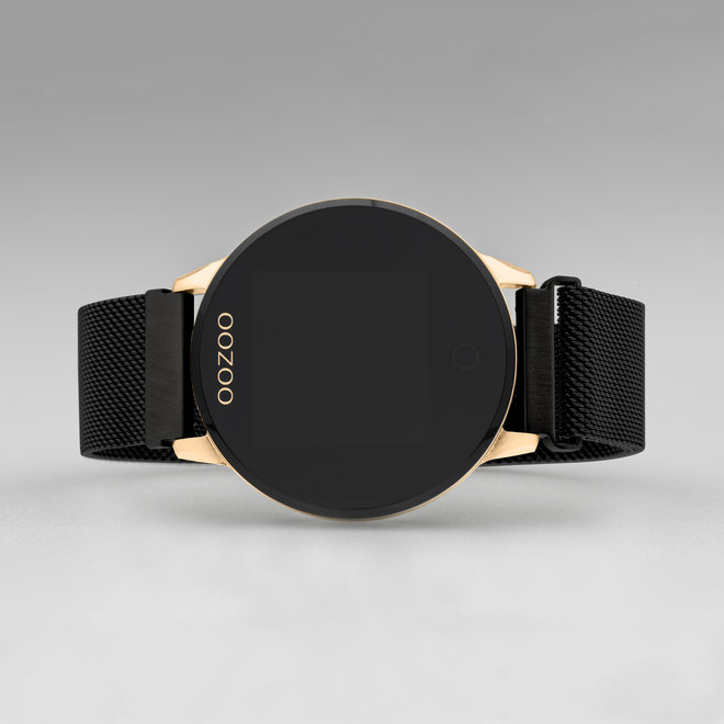OOZOO Smartwatches - unisexe - bracelet en mesh noir avec or rose