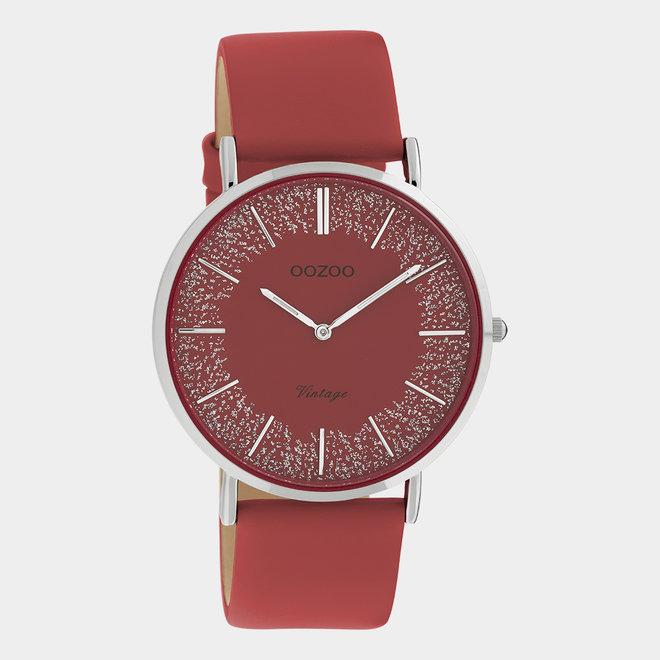 OOZOO Vintage - Ladies - leather strap red / silver