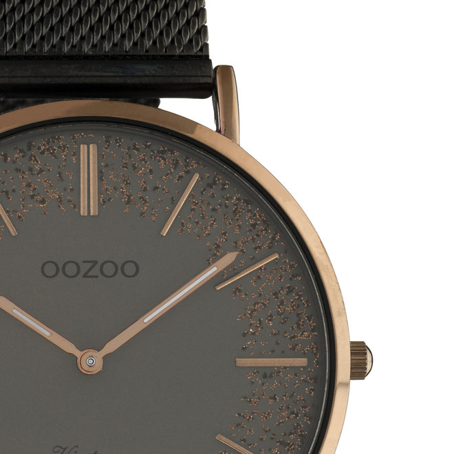 OOZOO Vintage - Ladies - metal mesh strap titanium met brown