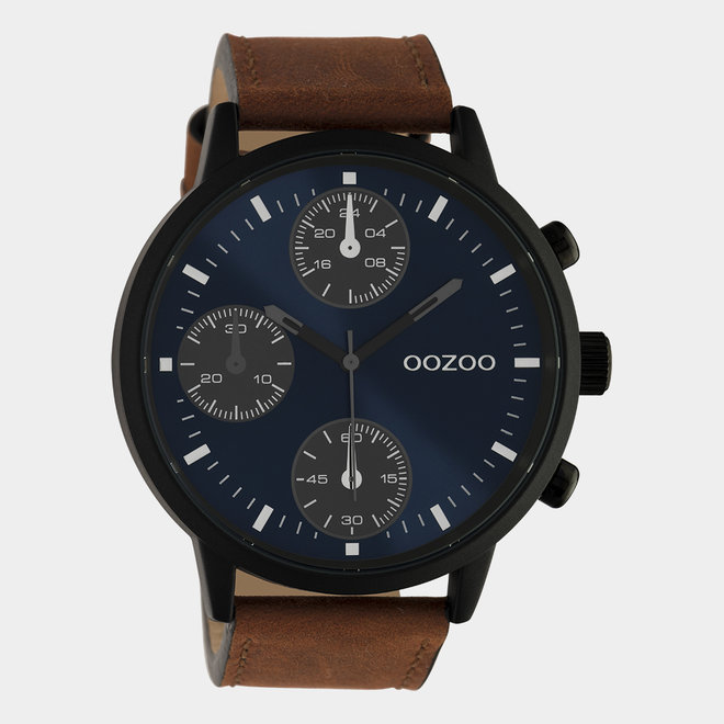 OOZOO Timepieces - gents - brown leather strap with black watch case