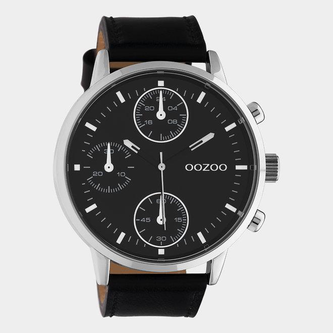 OOZOO Timepieces - hommes - bracelet en cuir noir avec un boîtier en argent
