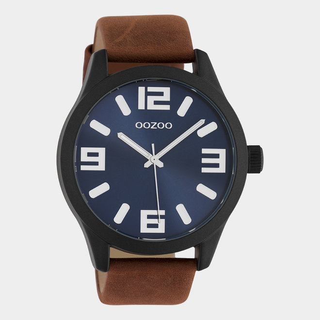 OOZOO Timepieces - unisex - brown leather strap with black watch case