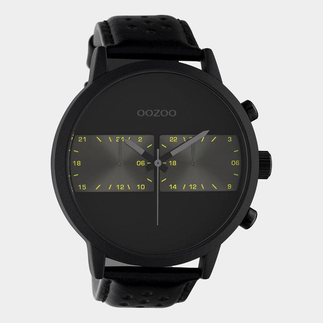 OOZOO Timepieces - unisex - leren band zwart