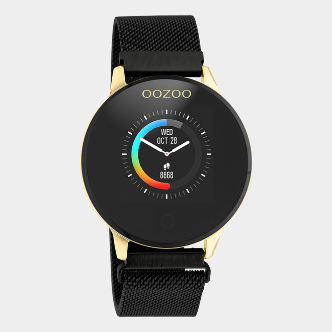 OOZOO Smartwatches - unisex - metal mesh strap black with gold case