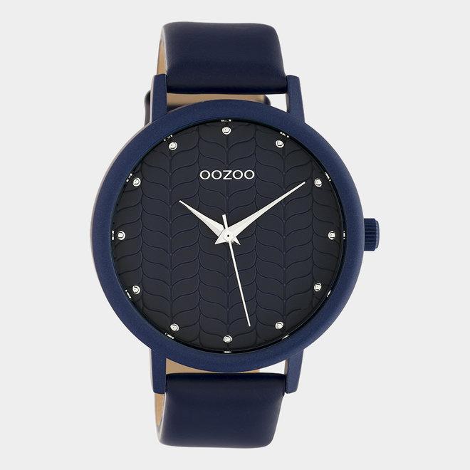 OOZOO Timepieces - femmes - bracelet en cuir bleu foncé avec un boîtier en bleufoncé