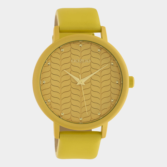 OOZOO Timepieces - dames - leren band mosterd