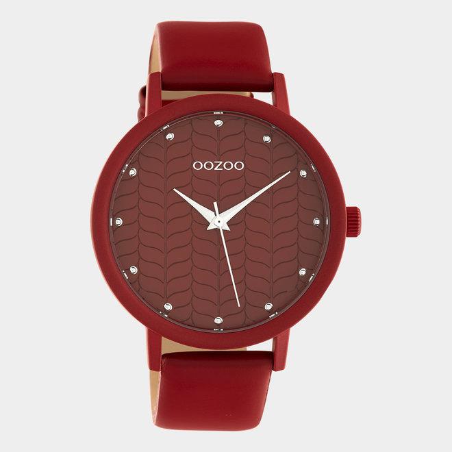 OOZOO Timepieces - dames - leren band samba rood