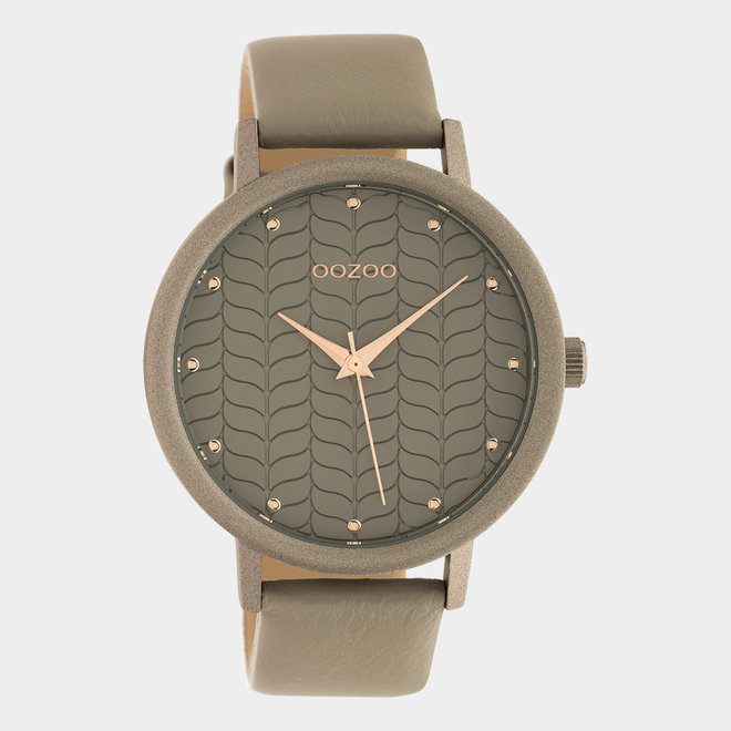 OOZOO Timepieces - dames - leren band taupe