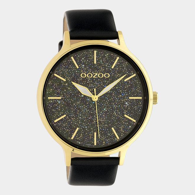 OOZOO Timepieces - dames - leren band zwart