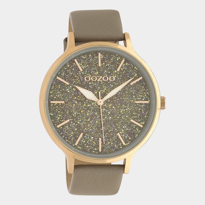 OOZOO Timepieces - dames - leren band taupe met rosé goud gekleurde horlogekast