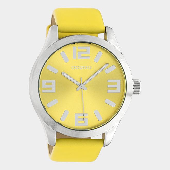 OOZOO Timepieces - unisex - leren band geel met zilver gekleurde horlogekast