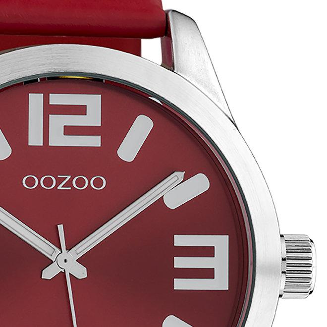 OOZOO Timepieces - unisexe - bracelet en cuir rouge avec un boîtier en argent