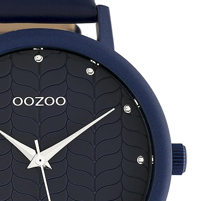 OOZOO Timepieces - dames - leren band diep blauw met diep blauw gekleurde horlogekast