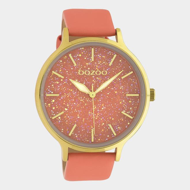OOZOO Timepieces - dames - leren band woestijn bloem