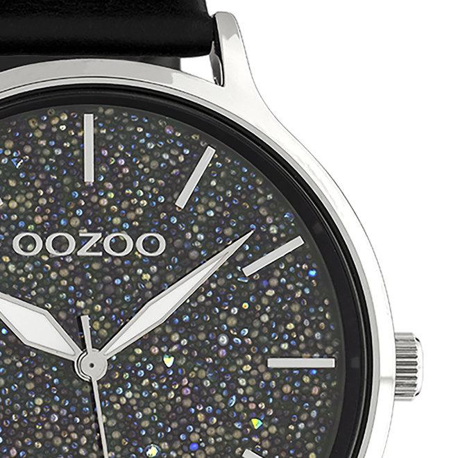 OOZOO Timepieces - dames - leren band zwart met zilver gekleurde horlogekast