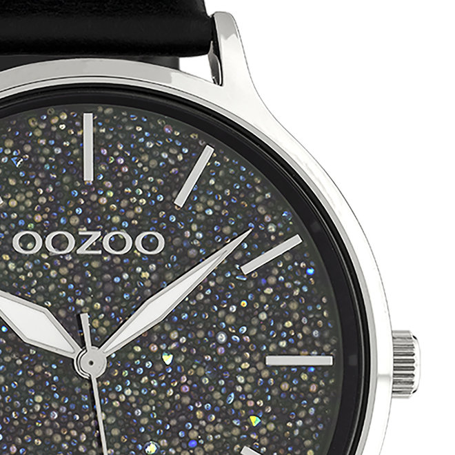 OOZOO Timepieces - ladies - black leather strap with silver watch case