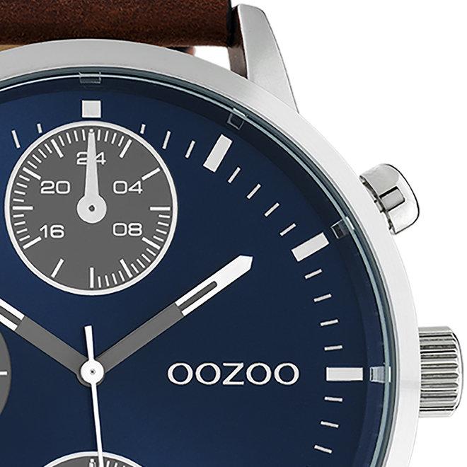 OOZOO Timepieces - hommes - bracelet en cuir marron avec un boîtier en argent
